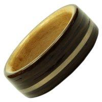 Holzring, Schmuck für Verlobungsring, Ehering, Raeuchereiche, Weißgold