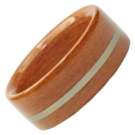 Holzring, Schmuck für Verlobungsring, Ehering, Zwetschge, Weissgold